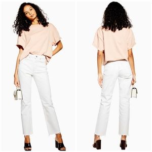 Topshop White Raw Hem Straight Leg Jeans